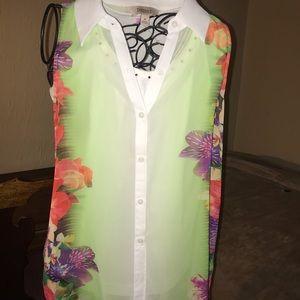 L.A.T shirt, Decree floral button up size medium